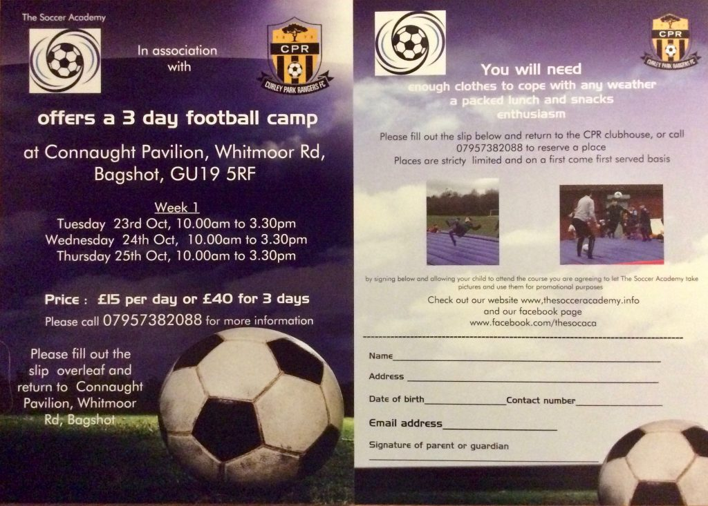 Soccer Academy brochure and booking form